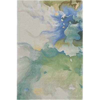 Ivy Bronx Emerie Abstract Hand Tufted Wool Blue Beige Area Rug Abstract Abstract Rug Beige Area Rugs