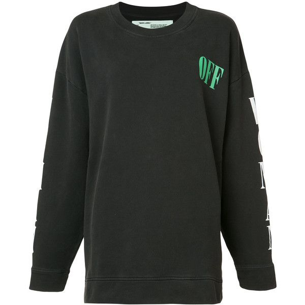 Off White Black Sweatshirt (2046360 PYG) ❤ liked on Polyvore featuring tops, hoodies, sweatshirts, black, black white top, mixed print top, print top, print sweatshirt and graphic sweatshirts