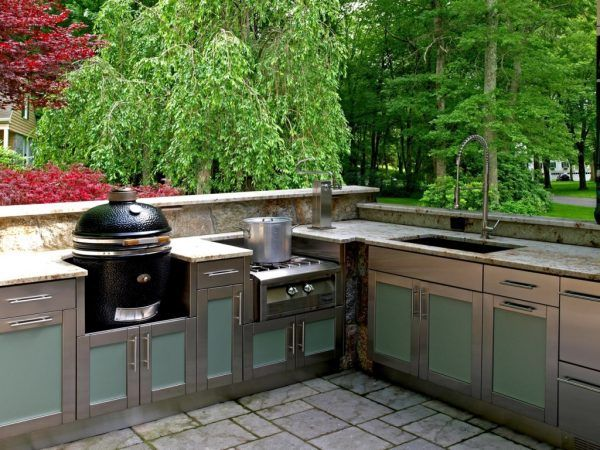 Entrancing Stainless Steel Outdoor Kitchen Cabinets With Colored Acrylic Kitchen  Cabinet Doors And Grill Dome Charcoal
