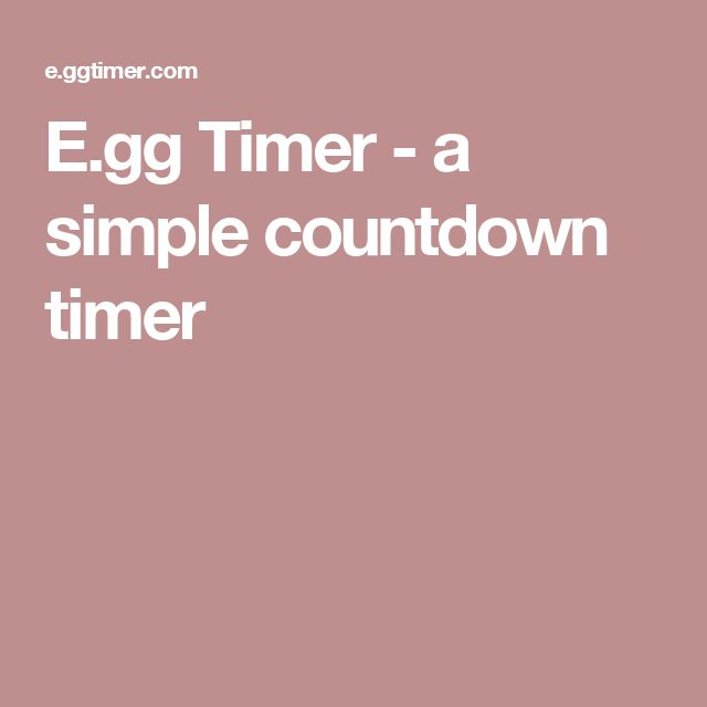 E.gg Timer - a simple countdown timer