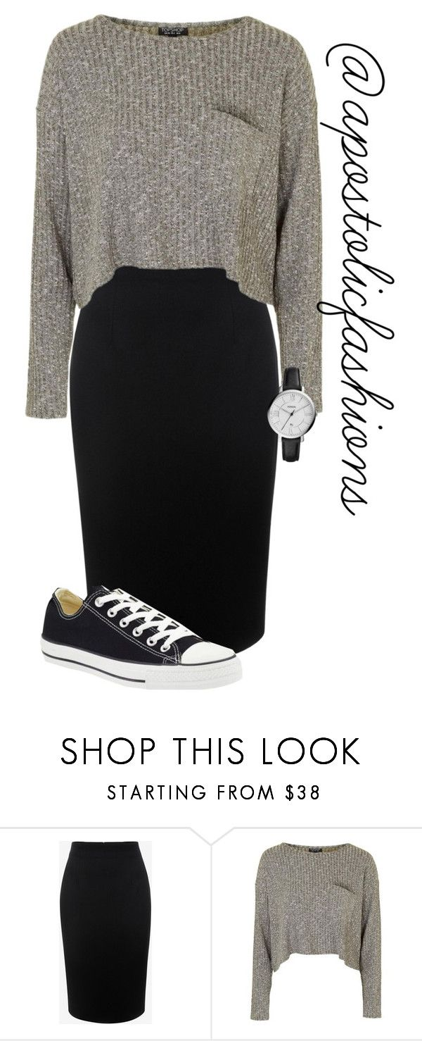 """Apostolic Fashions #1623"" by apostolicfashions ❤ liked on Polyvore featuring Alexander McQueen, Topshop, Converse, FOSSIL, modestlykay and modestlywhit"
