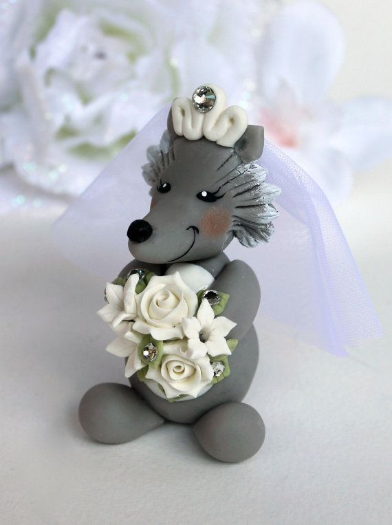 Duck and wolf wedding cake topper custom bride and by PerlillaPets