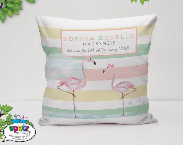Personalised Kids Flamingo Cushion Covers - SPATZ Mini Peeps®
