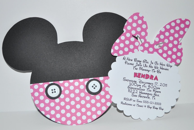 Minnie Mouse Invite - attach bow to invite insert