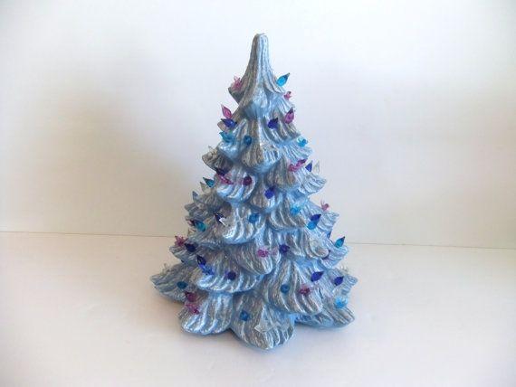 Labor Day Sale Vintage Ceramic Christmas Tree Blue on Etsy, $29.25