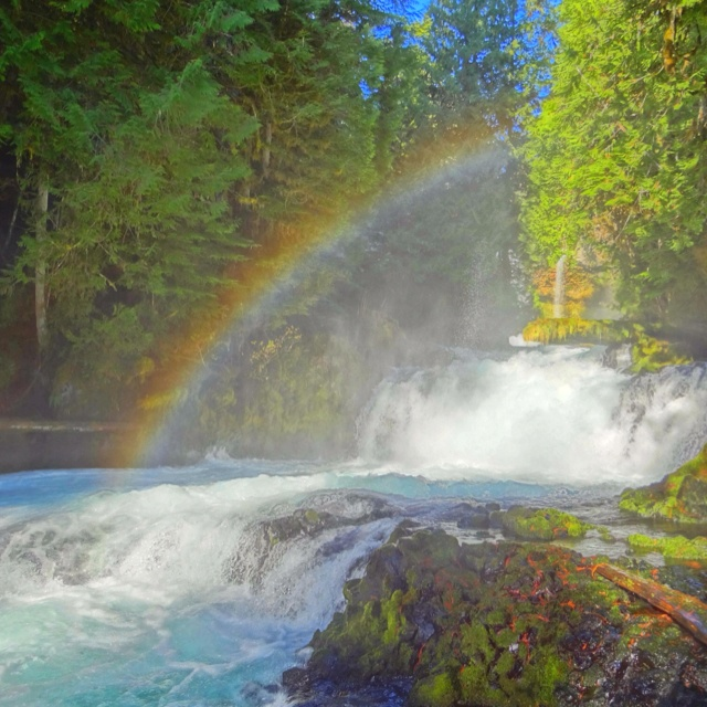 Waterfall and rainbow.
