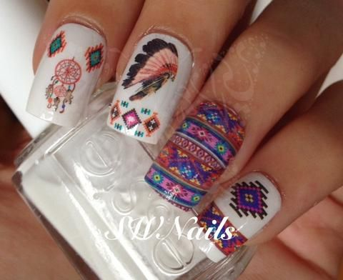 Tribal Aztec Nail Art Dreamcatcher Water Decals Transfers Wraps