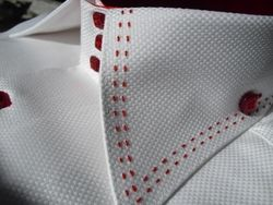 Axxess White with Red Stitch High Collar Shirt