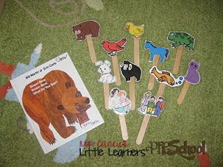 Brown Bear, Brown Bear activities: Ms. Carlie's Little Learners Preschool: {brown bear, brown bear, what do you see?} Children can re-tale the story with little laminated Brown Bear Characters on the end of pop cycle sticks,