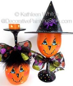 Halloween Wine Glasses Pattern - Kathleen Whiton - PDF DOWNLOAD