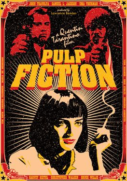 PULP FICTION - 1994 - movie from Quentin Tarantino - artistic movie poster - size 16 x 12 inches