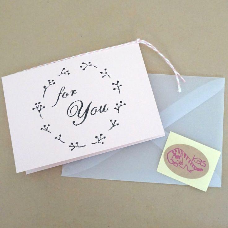 ガリ版印刷グリーティングカード「For You」(シャーベットピンク)の画像1枚目