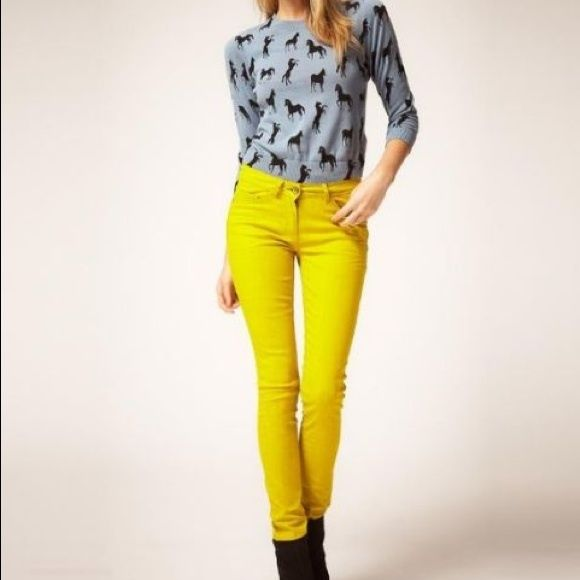 Rockstar Yellow Jeans Worn once super cute bright yellow skinny jeans! Great to add a pop to your outfit! :) has a little bit of stretch to it. Pants