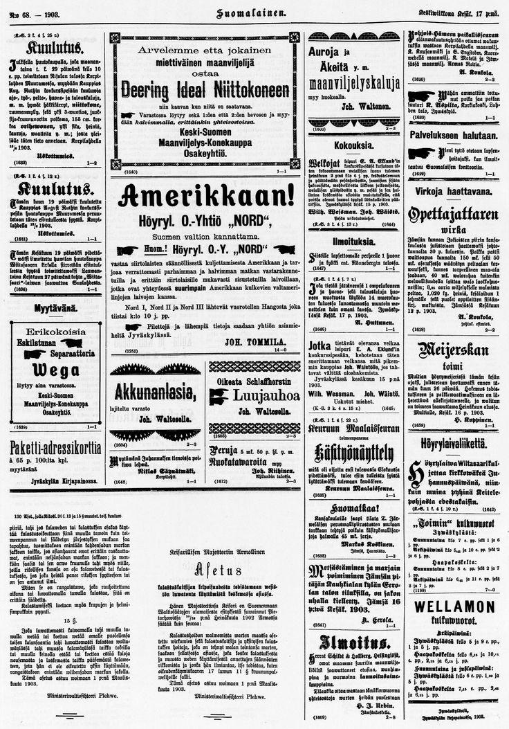 17.06.1903 Suomalainen no 68 - Sanomalehdet - Digitoidut aineistot - Kansalliskirjasto