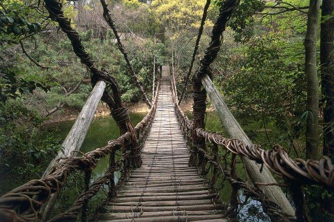 Japan, Vine suspension bridge at Shikoku Mura Village, near Takamatsu