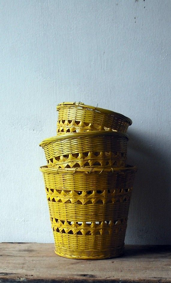 yellow vintage baskets
