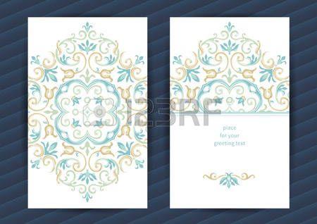 motif islamique: cartes ornées d'époque en style oriental. Pastel décoration florale orientale. vintage frame modèle pour l'anniversaire et une carte de voeux, faire-part de mariage. Ornement frontière vecteur. Facile à utiliser, en couches.
