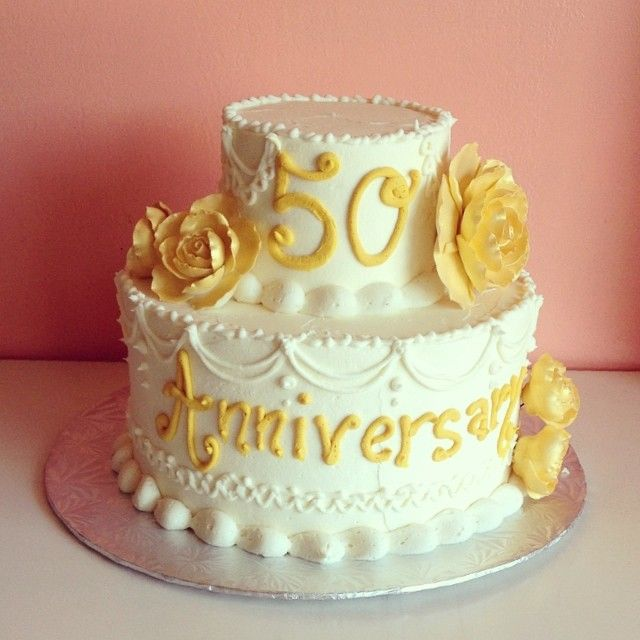 Gold And White 50th Anniversary Cake By 2tarts Bakery