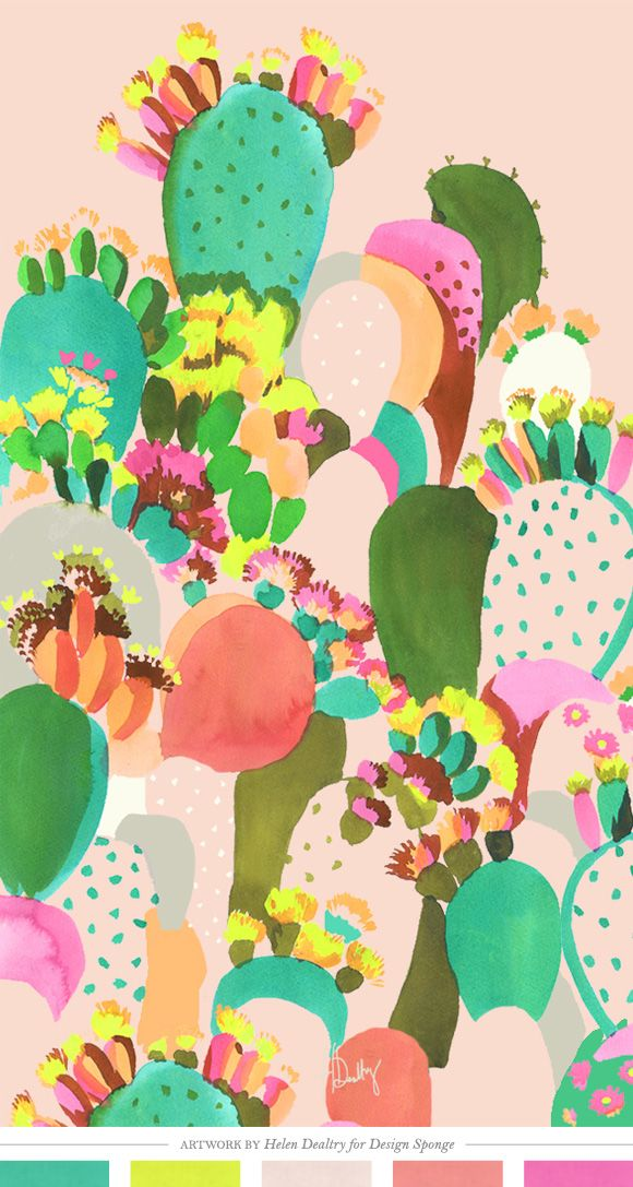 Color Inspiration - Cactus Watercolor Pattern