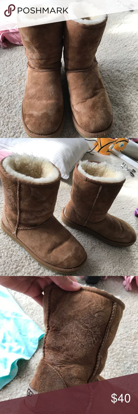 Authentic tan shirt uggs A couple stains and some water damage but still a lot left to them UGG Shoes Winter & Rain Boots