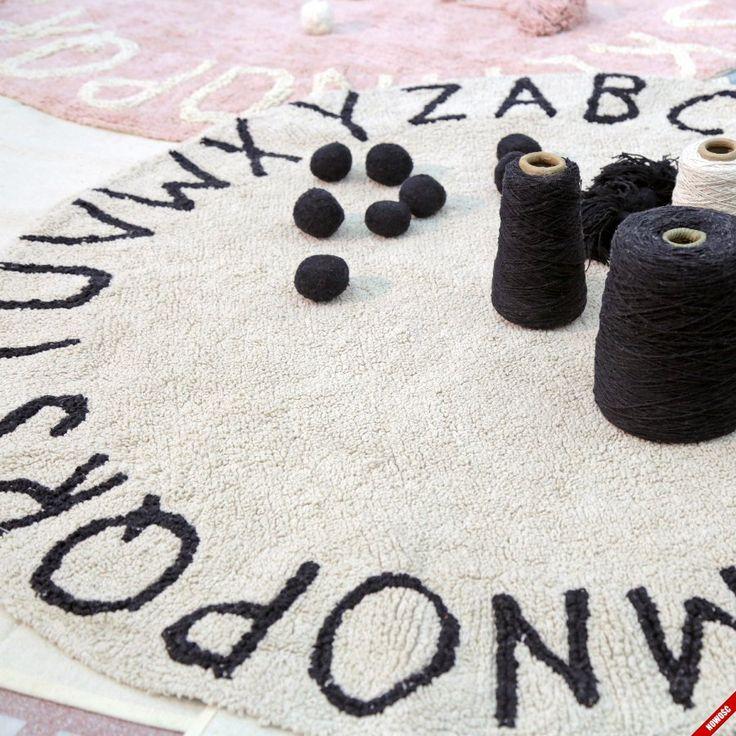 Bawełniany dywan ROUND ABC - Natural - NieMaJakwDomu