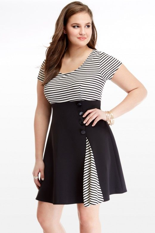 Solid Scuba with Stripe Flare Dress