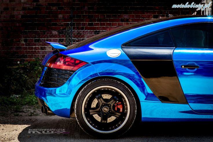 Audi TT Monster Wraps Blue Chrome Car