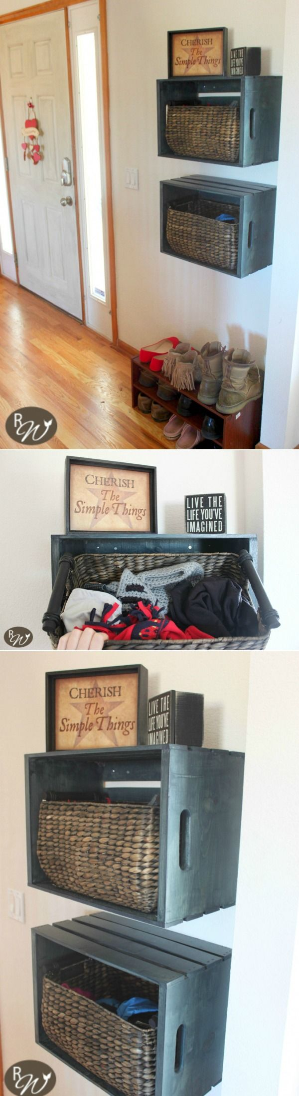 DIY Mudroom Storage Crates | therusticwillow.com