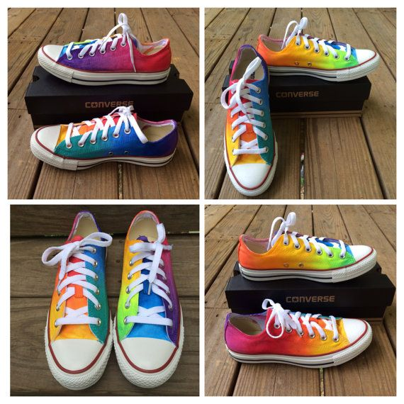 Custom Hand Painted Rainbow LOW TOP Converse by IntellexualDesign