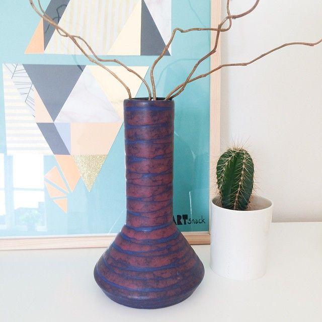 Flot West Germany keramik vase i lilla og blå - 200kr