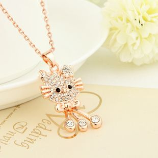 2014 New Style Girl Jewelry Fashion Crystal Hello Kitty Necklace Women Pendant Necklaces Rhinestone Jewelry For Girl Accessories