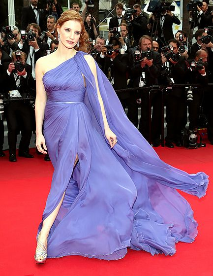 Also in Cannes in May, the Disappearance of Eleanor Rigby star donned a one-shoulder, lavender Elie Saab dress that billowed around her, thanks to strong sea breezes. Chastain finished her French film festival look, worn to the premiere of Foxcatcher, with metallic Roger Vivier heels. (may 2014)