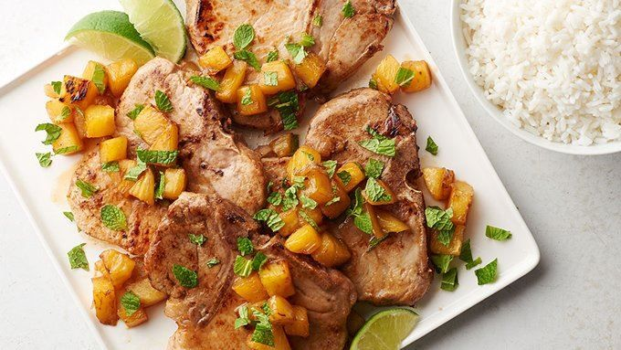 Put a little Cuban spin on your pork chops with this fun cocktail-inspired skillet supper.