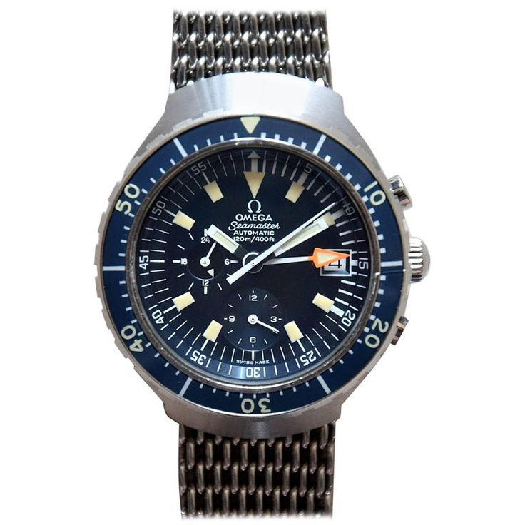 Omega Seamaster 120m Automatic Chronograph 1971 a.K.a. Big Blue | From a unique collection of antique and modern collectibles and curiosities at https://www.1stdibs.com/furniture/more-furniture-collectibles/collectibles-curiosities/