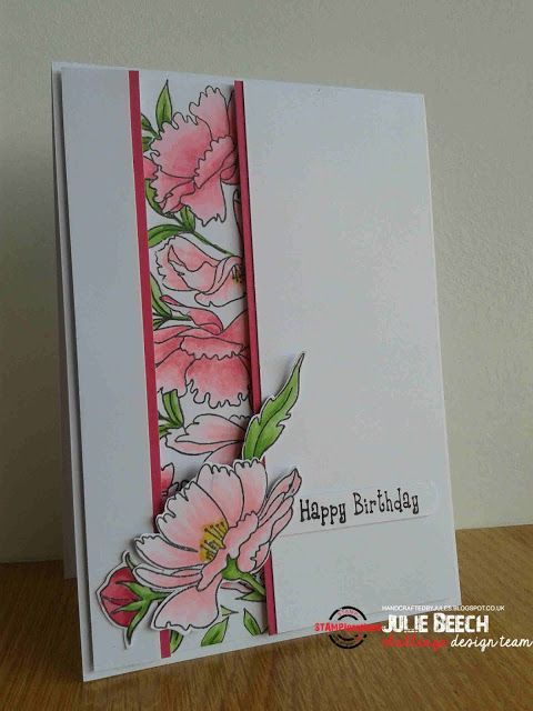 handmade card from Crafted by Jules ... pretty pink posies ... like this layout with a recessed column of stamping ... great card!
