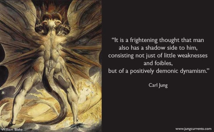 It is a frightening thought that man also has a shadow side to him, consisting not just of little weaknesses and foibles, but of a positively demonic dynamism. - Carl Jung    -------Photo by William Blake: The Great Red Dragon and the Woman Clothed in Sun