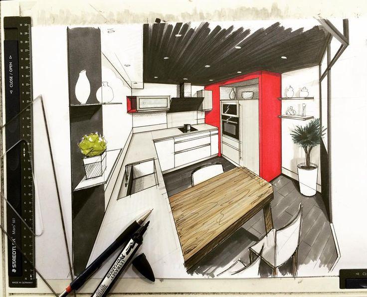 """""""✏️ #draw #handmade #feutre #promarker #architectureinterieure #architecture #interieur #interior #interiordesign #kitchen #home #design #sketch…"""""""