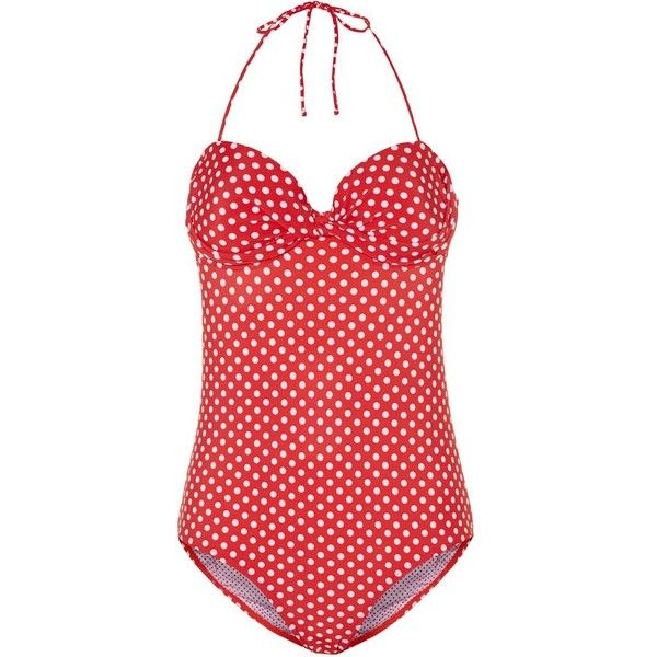 Kelly Brook Red Polka Dot Open Back Swimsuit ($20) ❤ liked on Polyvore featuring swimwear, one-piece swimsuits, swimsuits, bathing suit, bikini, red, spot, halter top one piece swimsuit, polka dot bikini and swim suits