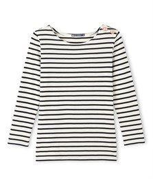 Marinegestreept dames-T-shirt met lange mouwen beige Coquille / blauw Smoking - Petit Bateau