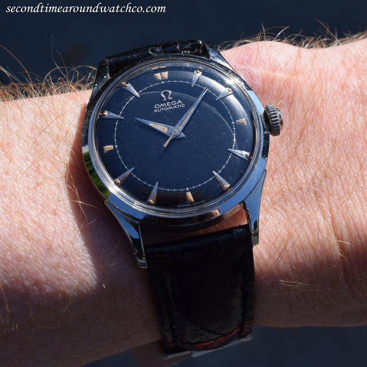 Today I'm wearing a 1949 Omega Automatic Reference 2635-5 in Stainless Steel. What a dial on this guy! (Store Inventory # 10274, listed at $1550, available now, online & in store.)    #omega #black #dial #steel #simple #timeonly #vintagewatches #classicwatches #classic #vintage #watch #watches #cool #wristwatch #collectible #timepiece #stawc
