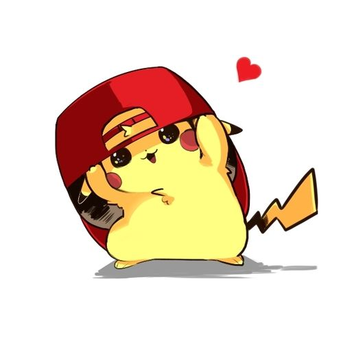 In this cute anime wallpaper, we see a cute pikachu wearing red's hat.