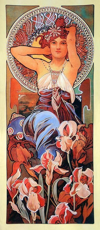 Donna di Fiori I, A.Mucha Riproduzione d'arte stampata su tela e dipinta a mano. www.stampediarte.it/bundle/detail/10005442/donna-di-fiori-i---materica