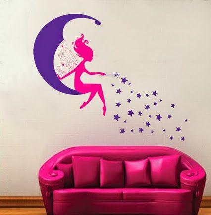 Preciosa pegatina infantil para decorar la habitación de las peques. #pegatinadecorativahadas #vinilosdehadas