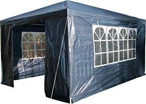 Tenda 3M X 4M Con Pannelli Laterali Blu Airwave. Tetto Peso 120G Impermeabile Con Struttura In Acciaio Rivestito Tenda blu 4x3m per feste di bell'aspetto - Versatile Telaio in acciaio rivestito a polvere 4 lati con pannelli inclusi - 2 con ingresso doppio dotato di cerniera, che consente alla porta di essere arrotolata e fissata, 2 con lati dotati di finestre - ognuna con finestre stile 'chiesa'. I lati possono essere fissati in qualsiasi combinazione per adattarsi al luogo o ai requisiti…