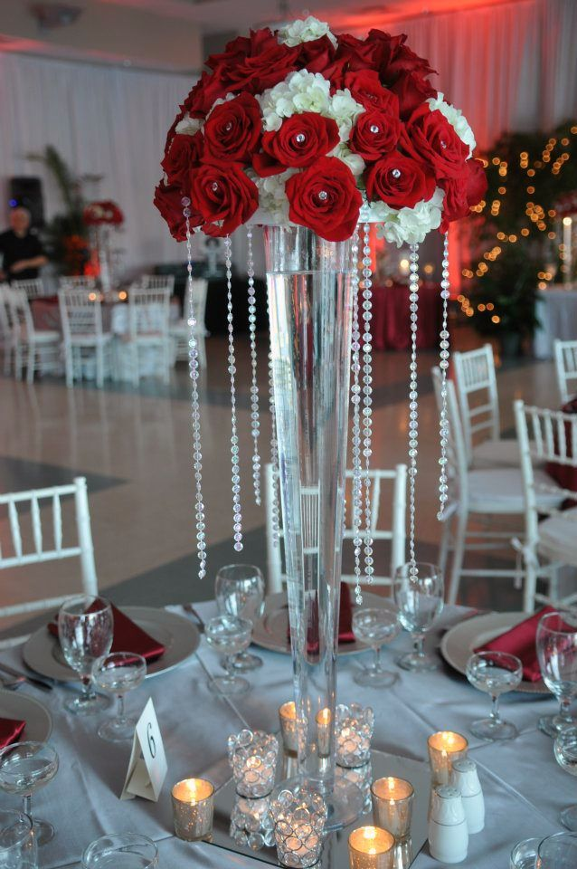 Red And White Tall Wedding Centerpieces And Blue Flowers