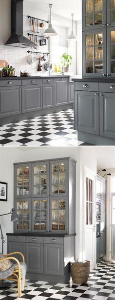 Grey white & black & white tile floors