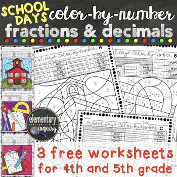 Practice identifying equivalent unit fractions, adding fractions with unlike denominators, and rounding decimals to the nearest tenth with these 3 free activity sheets. They are great for independent practice in math centers! For lots more fractions and decimals color-by-number