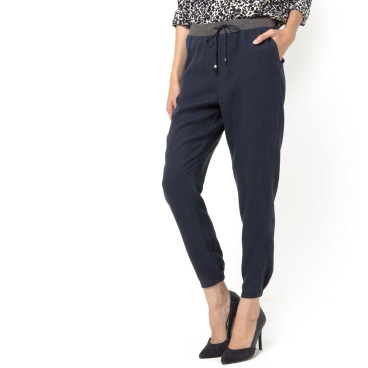 Spodnie sarouel z paskiem kontrastowym, ze sznurkiem do wiązania Esprit   La Redoute