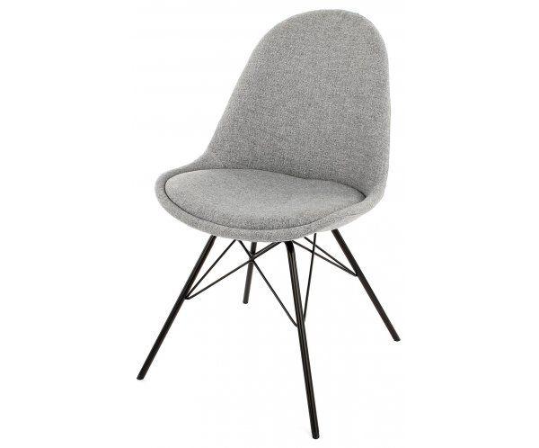 Krzesło Donna Szare Tkanina Nogi Porgy Metalowe Czarne - 616zł