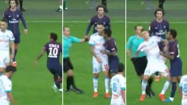 Liga Francesa: ¡Neymar, expulsado por encararse con Lucas Ocampos en el Marsella-PSG!   Marca.com http://www.marca.com/futbol/liga-francesa/2017/10/22/59ed06b6e5fdeab32f8b45f9.html